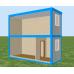 Двухэтажный  модульный офис из двух блок контейнеров