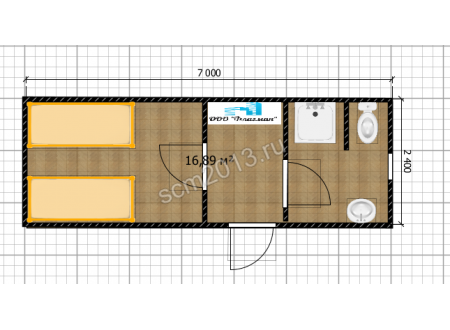 Блок жилой с кухней и санузлом