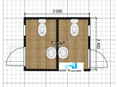 Раздельный туалетный модуль
