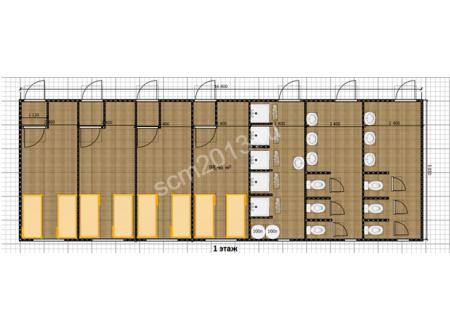 Общежитие модуль из 14 блоков Эконом
