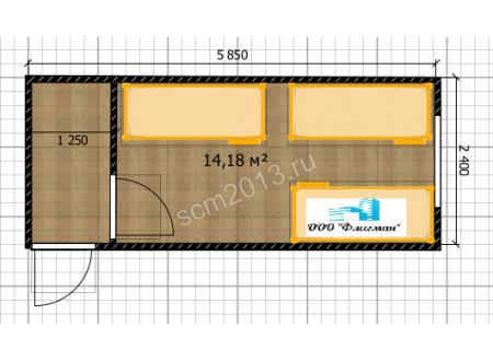 Блок-контейнер с 3 кроватями Эконом