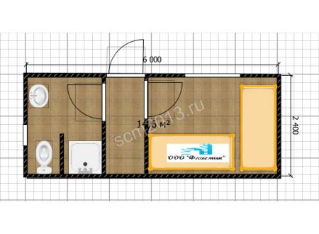 Дачная бытовка с душем и туалетом БК-0016