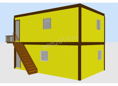 Двухэтажный  модульный офис из 4-х блок контейнеров